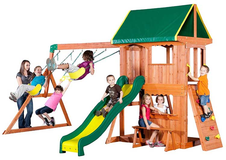 Backyard Discovery All Cedar Playset. with swings, bench slide.