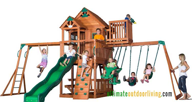 Wooden Playset for big backyards. Backyard Discovery Skyfort II. Two clubhouses, sand pit swings and a climber. and more.