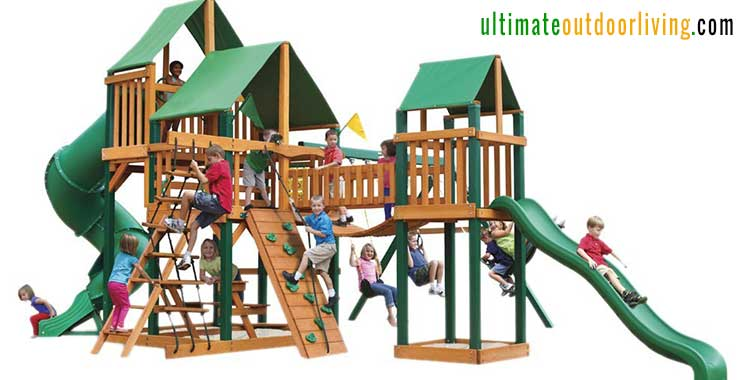 Wooden Playsets for big backyard. The Gorilla Playset treasure trove. 2 slides, climbing frame, picnic area, sand pit and more!