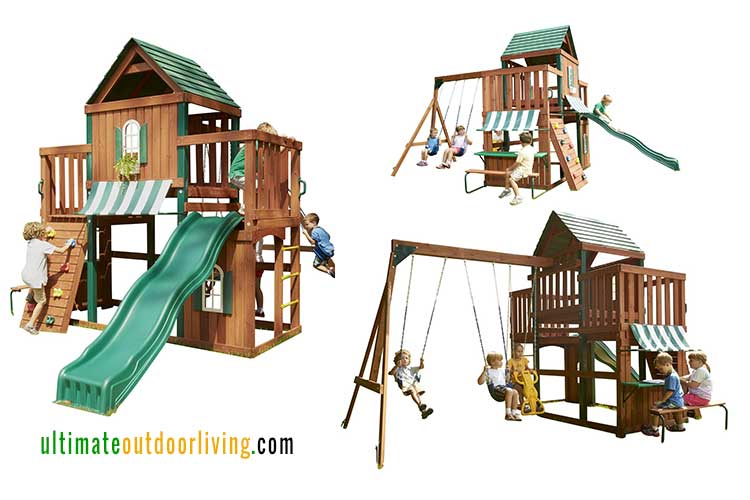 Wooden Playsets for Kids. The Winchester Wood Complete Play Set, compact with lots of possible play activities.