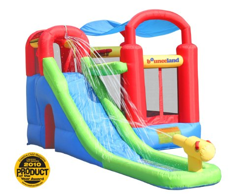 bounceland water slide with play station bounce house