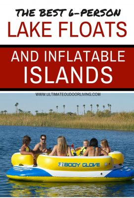 The best 6 person lake floats and inflatable islands with a picture of the yellow lake island raft for 6 people by Body Glove