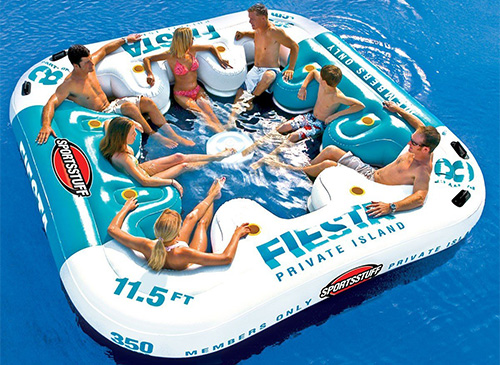 Large floating island raft with 8 person capacity. Get the party started.