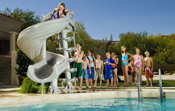 Inground pool slide that's durable and fun.