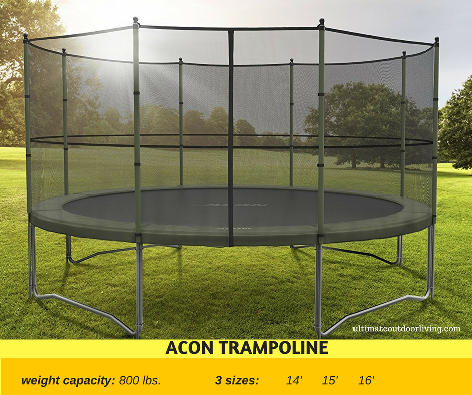 Heavy duty trampoline for the home with up to 800 lbs. weight capacity!