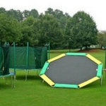 Octagon trampoline with 450 lb weight capacity. available with or without enclosure