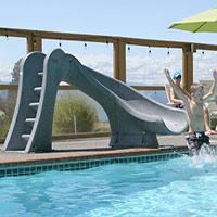 Gray cyclone pool slide