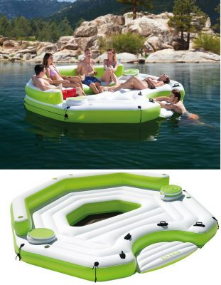 Intex 6 person floating lounge in green and white. Relax with friends at the pool or lake.