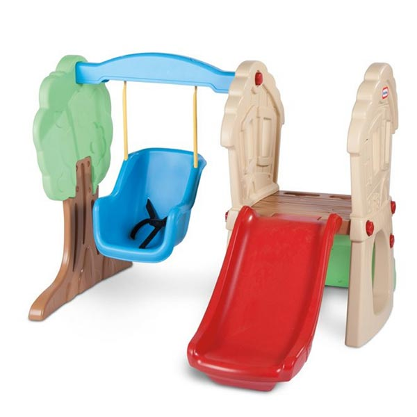 Plastic swing set for toddlers. It's small enough and safe too. Perfect for both indoor and outdoor use. Love the baby swing.