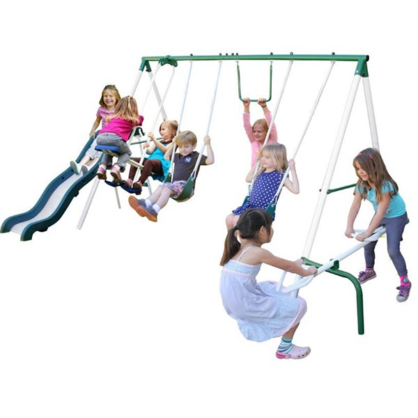 Perfect set for when grandchildren come to visit. this is smaller than many swingsets, so great for toddlers to use. You can add a baby swing if you want.