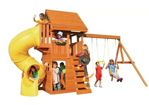 A swing set with multi activities such as a trapeze, a climbing frame and a club house.  this is recommended for kids 7 – 8 years old. It has a total weight capacity of 990 lbs.