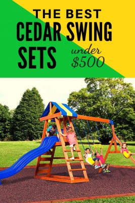 Best Wooden Swing Sets under $500 dollars. This is a steal! Cedar wood playsets that are perfect for small backyards. There's even one that is small enough for a toddler swing set. Check it out!