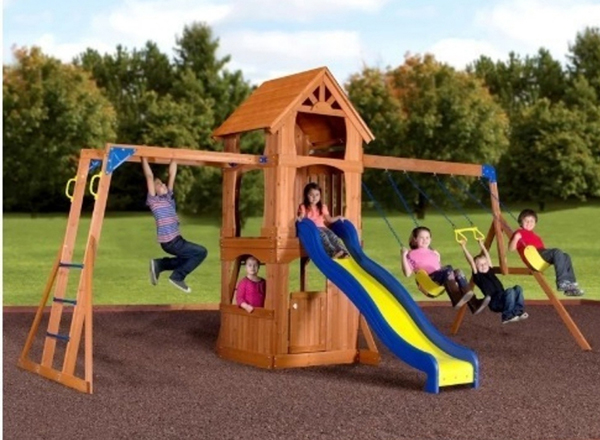 Wooden Swing set with Monkey bars! This isn't a very common feature. So if you want your kids to have monkey bars to play with in the yard, you'd love to have a look at this. One of those sets that kids from 3 years old to young teens can enjoy.