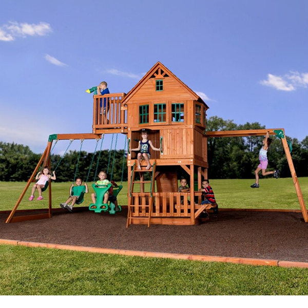 Big Cedar Swing set with monkey bars.  This is a wooden playset for 3 – 10 years old.