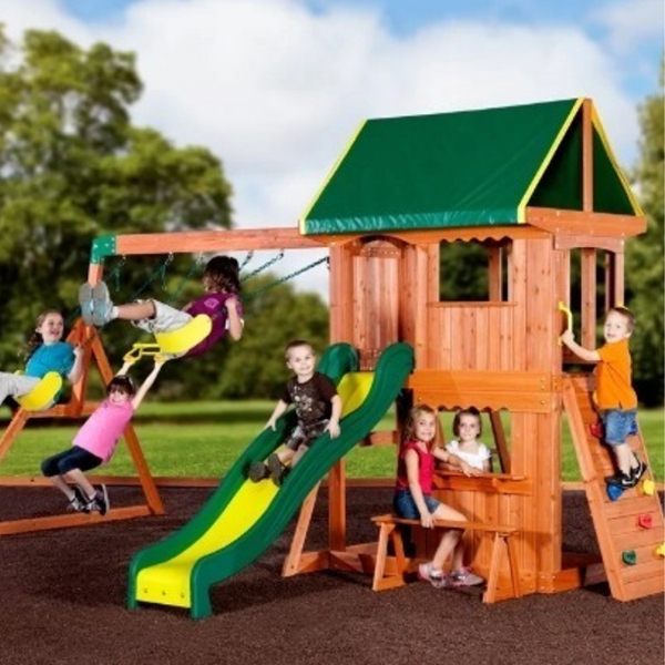 A swing set with a climbing frame. This is a unique feature as a lot of playsets at this price do not have a climbing frame. Kids love going up to the tower to use the slide using this climbing frame.