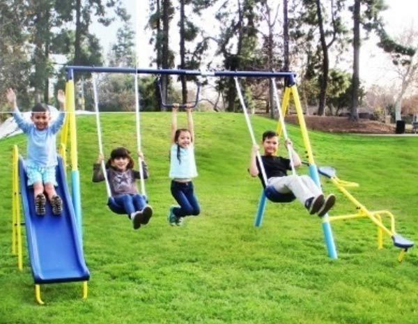 Simple and small playset for kids. If you want a cheap and affordable multi activity playset, check this out. It's under $200 right now.
