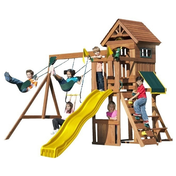 A small wooden swing set with a lot of activities for kids 3 - 10 years old. some of the fun features include a slide, tower, climbing frame.