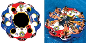 Wow Sports Tube A Rama Inflatable island float. Bright colors will keep you visible on the lake. The middle area is great for kids to play and swim in too. Have fun in the lake or the river with friends.